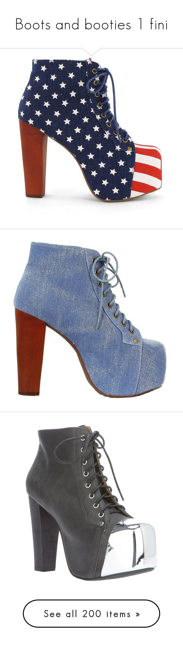 """Boots and booties 1 fini"" by lonely-wrestling-fan ❤ liked on Polyvore featuring shoes, boots, ankle booties, heels, jeffrey campbell, zapatos, blue, party shoes, faux suede lace-up booties and lace up heel booties"