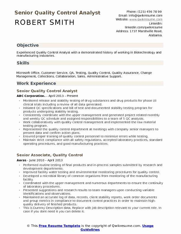 Quality Control Resume Examples Unique Quality Control Analyst Resume Samples In 2020 Resume Resume Examples Manager Resume