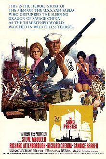 The Sand Pebbles //  Directed by	Robert Wise  Produced by	Robert Wise  Written by	Robert Woodruff Anderson  Richard McKenna (novel)  Starring	Steve McQueen  Richard Attenborough  Richard Crenna  Candice Bergen  Marayat Andriane  Mako  Charles Knox Robinson III  Music by	Jerry Goldsmith  Cinematography	Joseph MacDonald  Editing by	William Reynolds  Distributed by	Twentieth Century Fox Film Corporation  Release date(s)	  December 20, 1966