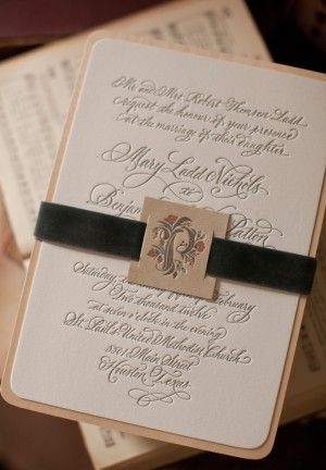 Oh So Beautiful Paper: Mary + Ben's Elegant and Rustic Letterpress Wedding Invitations (Love the belly band style)
