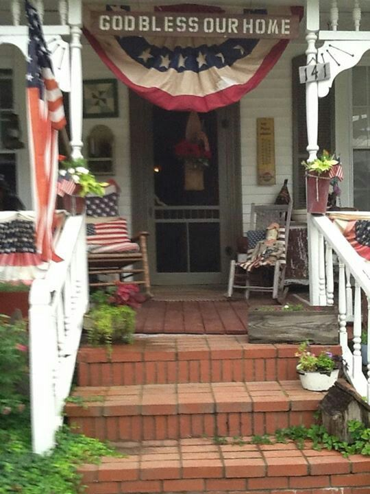 I Love These Americana Decorations 4th Of July Porch
