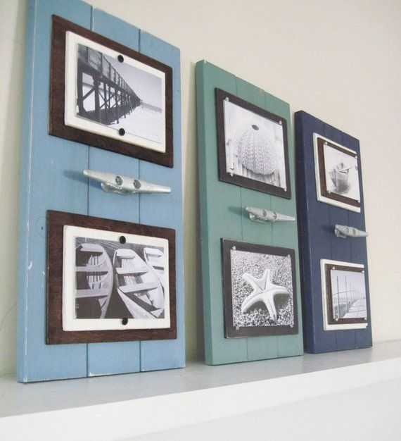 Set Of 3 Double 4x6 Marina Blue Dusty Turquoise And Navy Plank Frames With Boat Cleat Decor Beach Theme Bathroom Beach Cottage Style