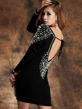 Belle mini robe sexy noire avec perles à dos décolleté et col bateau