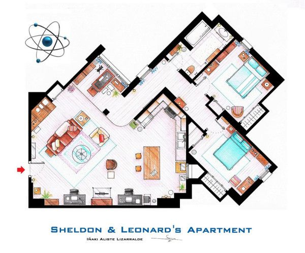 Spanish artist and interior designer Iñaki Aliste Lizarralde draws these famous house and apartment floor plans as a hobby, giving the TV viewer a new perspective on the homes in which our cherished characters reside. This is Sheldon & Leonard's apartment from The Big Bang Theory.