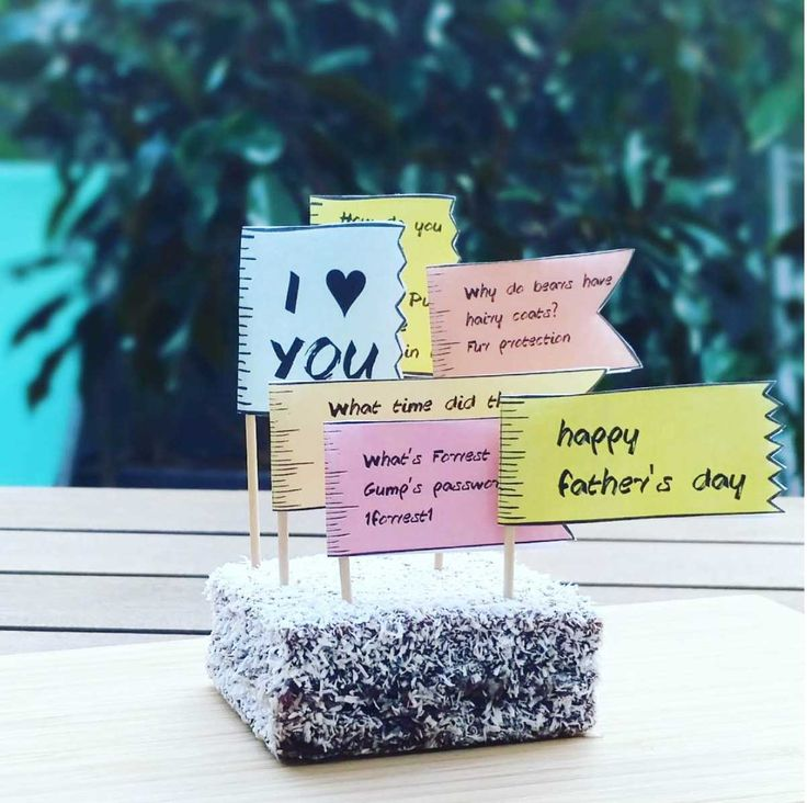 Printable Father's Day Cake Toppers - insert Dad's personal jokes (or use some of our pre-filled flags!) A few Father's Day cake ideas include donuts, cupcakes, rocky road and cinnamon bun to get you started. Whatever dad's favourite dessert is will be a hit and Dad will love reading his Father's Day jokes. A handmade gift means so much more plus it's heaps of fun and completely unique! Only $2 online at http://beauandbow.com.au