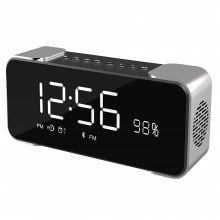 Bluetooth Speakers,Hi-Fi Portable Wireless Stereo Speaker with Alarm Clock,Build-in Mic,FM Radio,LED Light,Hands-free,Tw