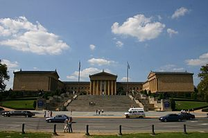 "Front entrance and steps to the Philadelphia Museum of Art. Also known as the ""Rocky Steps."""