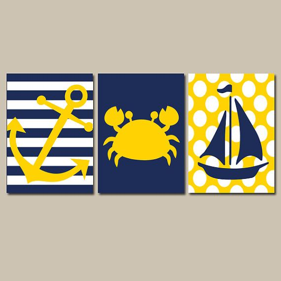 Nautical Wall Art Nursery Bathroom Canvas Navy Blue Yellow Preppy Artwork Ocean Girl Boy Anchor Boat Crab Pick Colors Set of 3 Prints Three