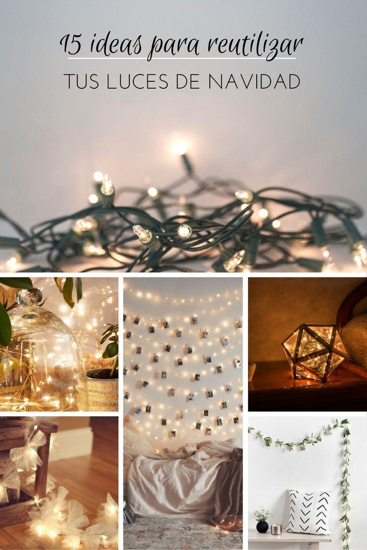 Luces de Navidad ➜  15 ideas para reutilizarlas para decorar durante todo el año.   #Luces #Navidad #String #Lights #Guirnaldas #Decoración #DIY #Manualidades #Handfie