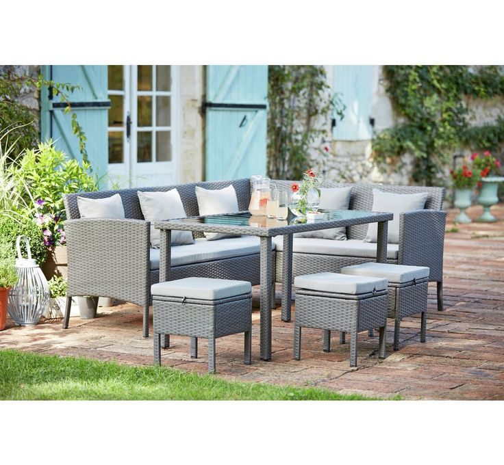 Buy HOME 8 Seater Corner Dining Set at Argos.co.uk - Your Online Shop for Garden table and chair sets, Garden furniture, Home and garden.