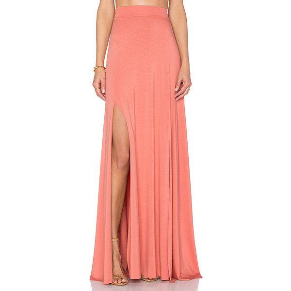 Rachel Pally Josefine Maxi Skirt ($200) ❤ liked on Polyvore featuring skirts, slit skirt, rachel pally maxi skirt, rachel pally, red skirt and long skirts