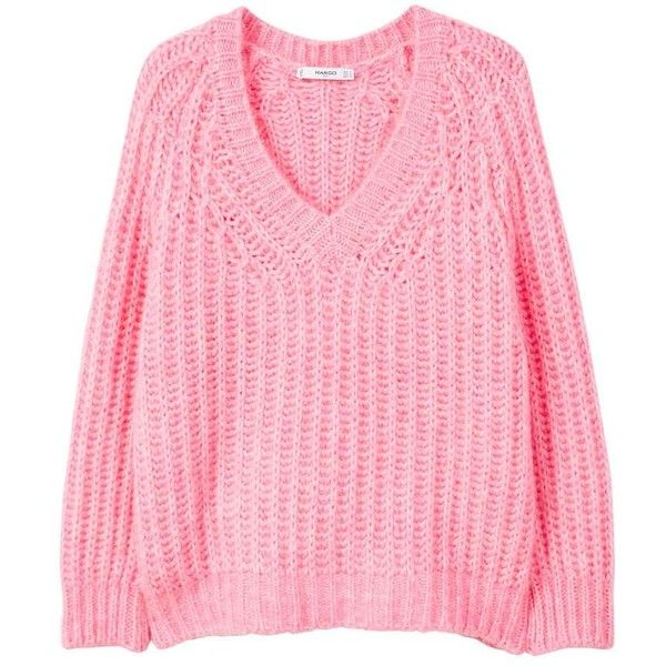 V-Neckline Oversize Sweater ($66) ❤ liked on Polyvore featuring tops, sweaters, chunky cable knit sweater, pink sweater, pink oversized sweater, pink v neck sweater and oversized knit sweaters