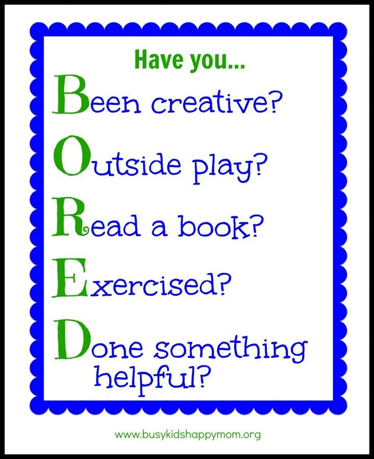 Bored Activity Chart with printable B- Been Creative? O- Outside Play? R- Read a book? E - Exercised? D - Done something Helpful?