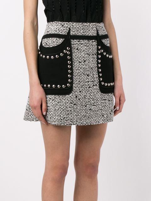 Giambattista Valli твидовая юбка с заклепками