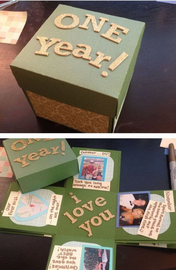 Die Explodierende Box Fur Ein Jahr Jubilaum Diy Geschenke Ideen Diy Geschenke Freund Diy Geschenke Diy Geschenke Basteln