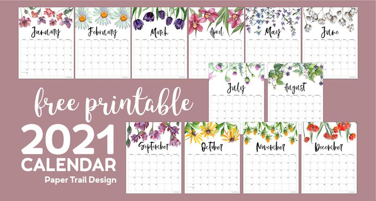 2021 Free Printable Calendar - Floral in 2020 | Calendar ...