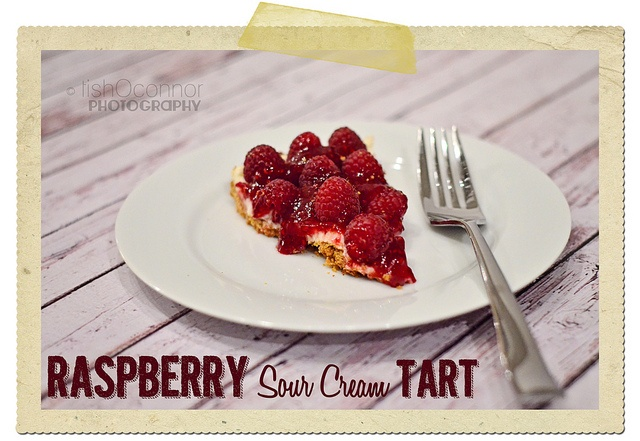 Raspberry Sour Cream Tart title by Tish - le mie foto, via Flickr