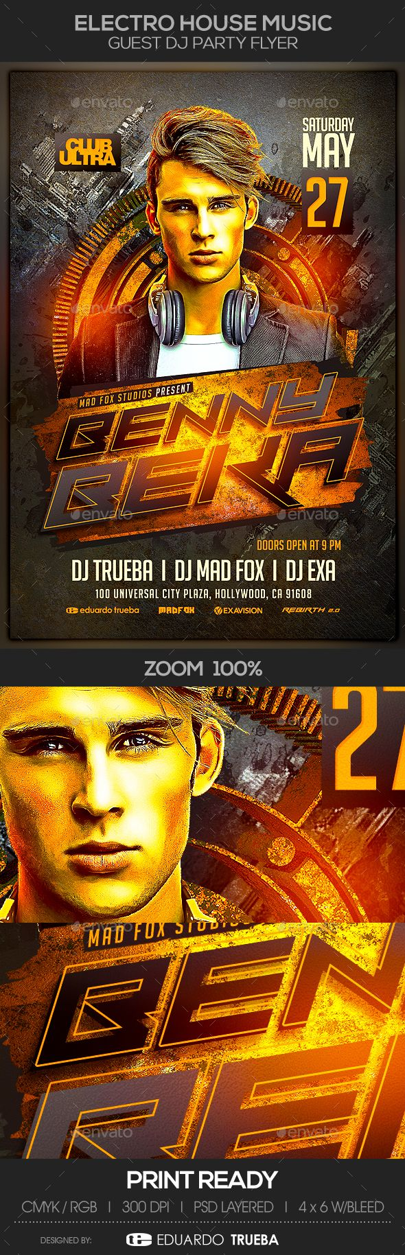 Electro House Music Guest Dj Party Flyer Template PSD