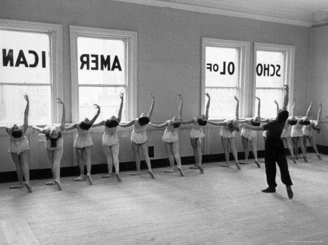 Vintage Ballet photograph...Dancers at George Balanchine's School of American Ballet Lined Up at Barre During Training    by Alfred Eisenstaedt