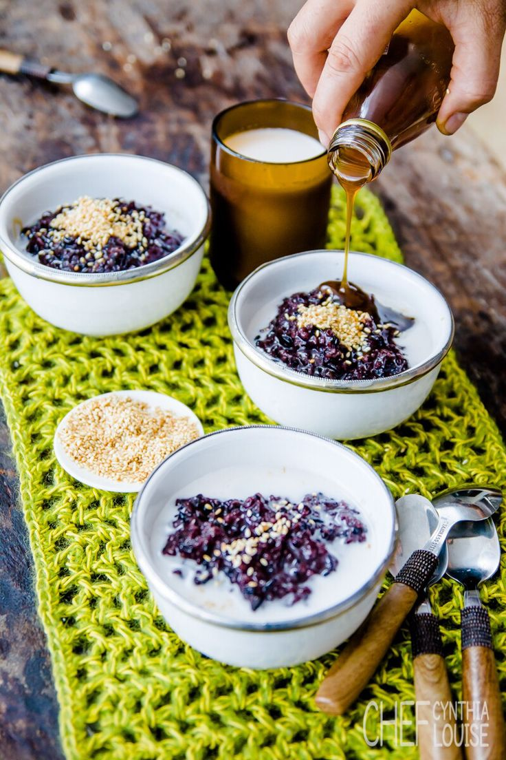 Creamy black rice sweeten with coconut palm sugar. I live in Indonesia so this is a normal affair, now you can be part of the action with my online cooking programs  chefcynthialouise.com