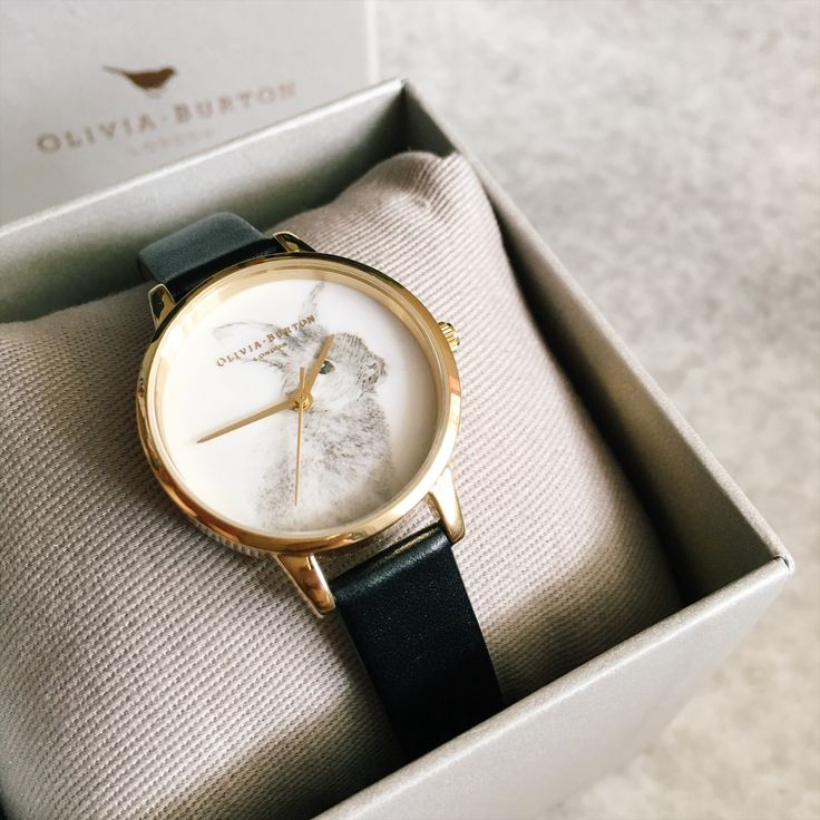 """""""The best time for new beginnings, is now.""""  Vegan Friendly Woodland Bunny Black and Gold watch by Olivia Burton"""