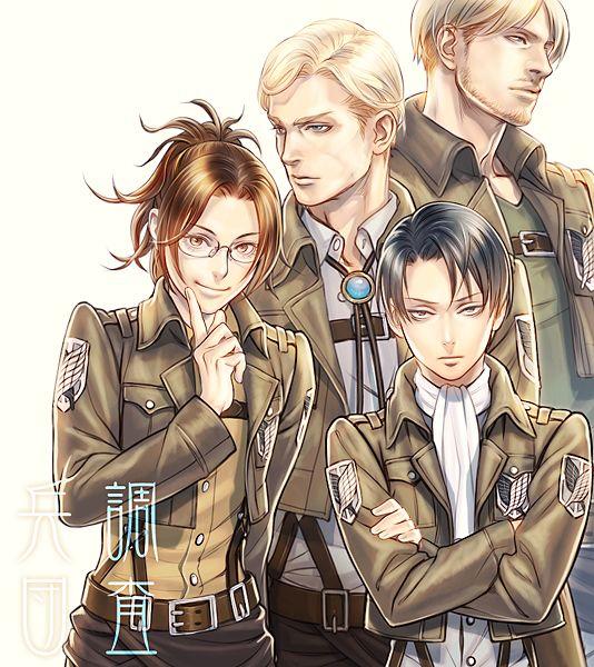 /Shingeki no Kyojin Attack on Titan SnK AoT  Erwin Smith, Zoe Hanji , Levi and Zacharias