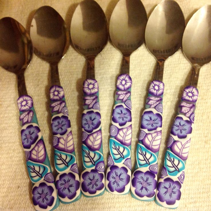 Tea spoons with polymer clay decors