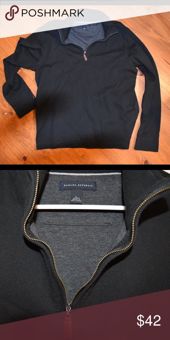 Men's pullover sweater Brand new without tags. Navy blue with brown leather zipper tag. 1/4 zip pullover. Banana Republic Sweaters Zip Up
