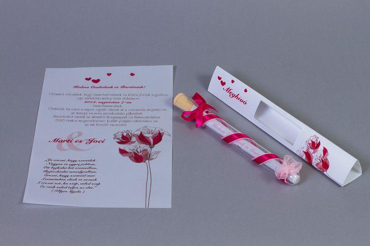 Pink szalaggal díszített kémcsöves esküvői meghívó _ pink message in bottle wedding invitation