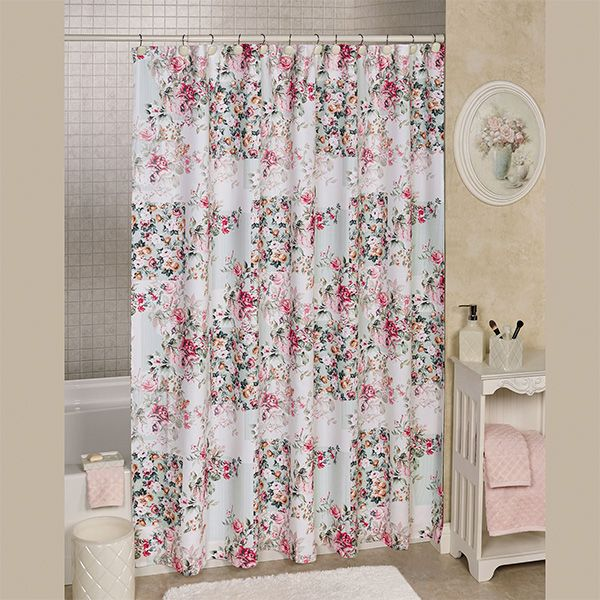 Lush Roses Blossom On The Cottage Floral Shower Curtain Printed