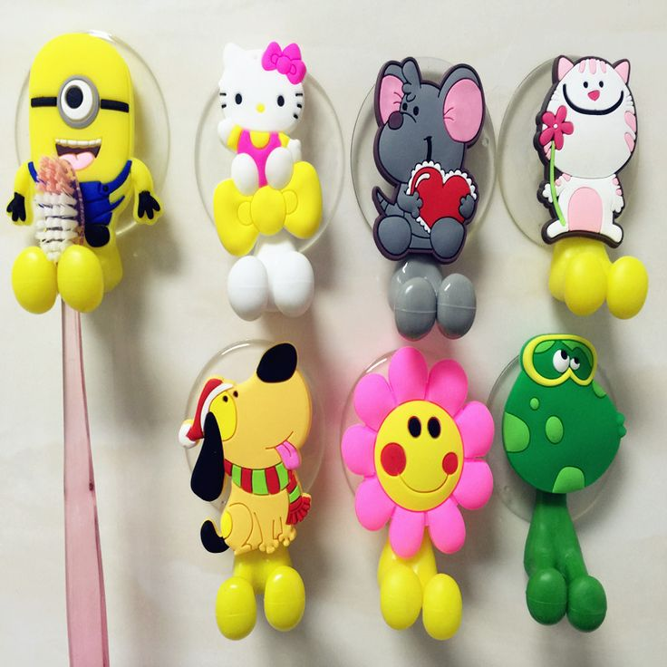 Cute Cartoon Animal Suction Cup Toothbrush Holder Bathroom Accessories 24 Colors