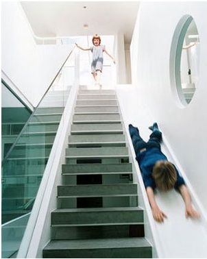awesome stair slide, great idea for kids