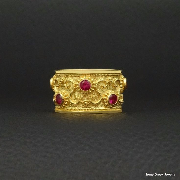 RUBY CZ BYZANTINE STYLE 925 STERLING SILVER 22K GOLD PLATED GREEK HANDMADE RING #IreneGreekJewelry #Band