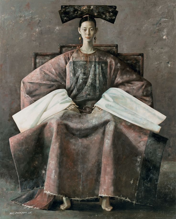 Portrait of a lady by contemporary Chinese painter Lu Jianjun