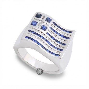 Βαρύ & εντυπωσιακό δαχτυλίδι με τη σημαία της Ελλάδας λευκόχρυσο Κ18 με 48 μπλε ζαφείρια & 49 λευκά διαμάντια | Κοσμηματοπωλείο ΤΣΑΛΔΑΡΗΣ στο Χαλάνδρι #σημαια #ζαφείρι #διαμαντια #λευκοχρυσο #δαχτυλίδι