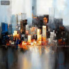 ABSTRACT NEW YORK MANHATTAN SKYLINE AT NIGHT 36X36 OIL PAINTING