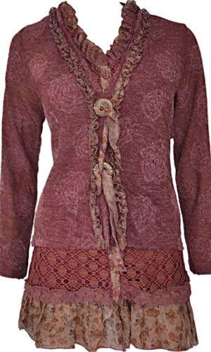 Pretty Angel Clothing Layered Victorian Tunic in Burgundy 81318BU | eBay