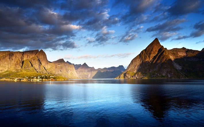 Download wallpapers Lofoten islands, 4k, mountains, sea, Norway, Europe