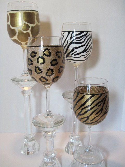 Set Of 4 Animal Print Painted Wine Glasses. $132.00, via Etsy.