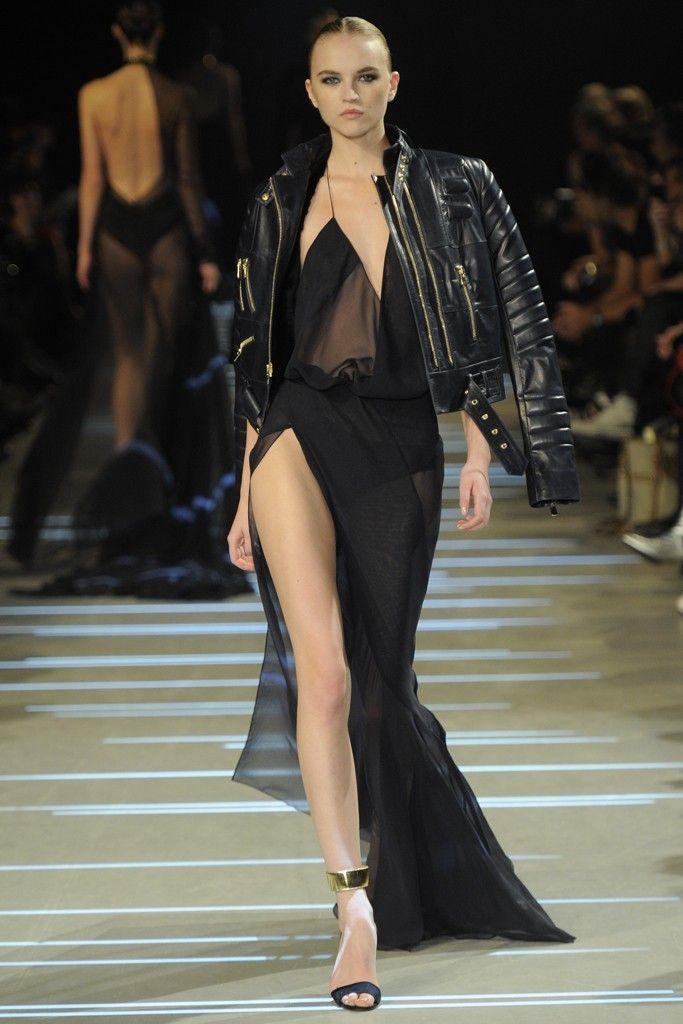 Black dress with biker jacket  at Alexandre Vauthier Spring Summer Couture 2013 #HauteCouture  #HC #Fashion