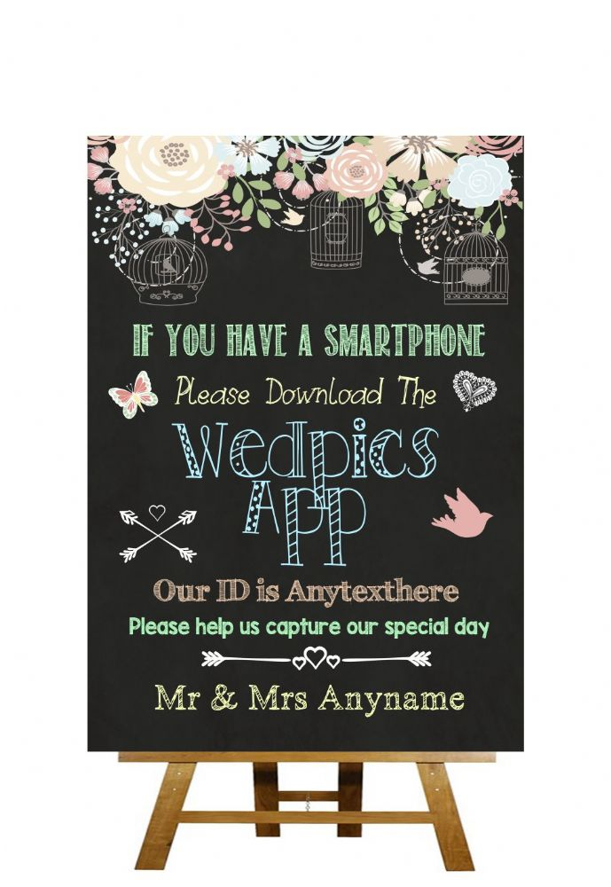 Shabby Chic Pretty Chalkboard Style Wedpics App Photo Personalised Wedding SignDigitally printed onto high quality 350gsm satin card and then gloss