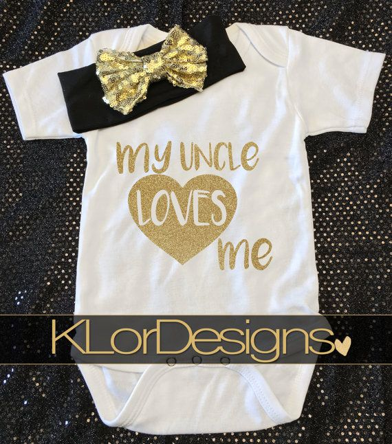 Baby Girl onesie  My Uncle Loves Me baby shower by KLorDesigns                                                                                                                                                                                 More