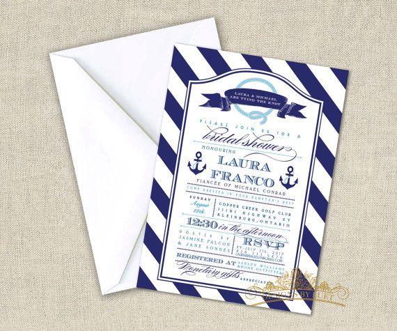 Nautical Bridal Shower Invitation - Bridal Shower Invite - Anchors Wedding Shower Invitation Cards with Free Envelopes