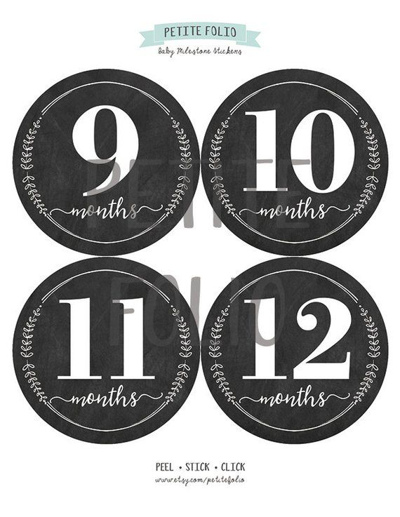 18 Month Stickers: Wreath Chalkboard Monthly Stickers Baby Girl Milestone