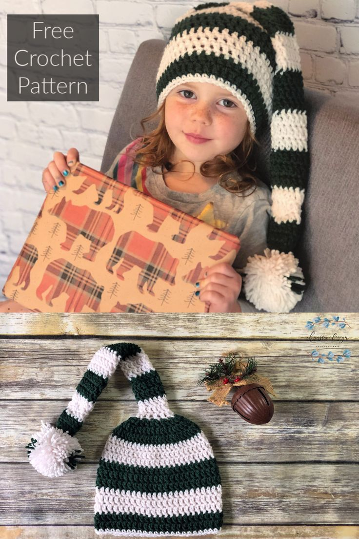 Striped Hat Winter Hat Crochet Hat Valentines Day Hat Phono Prop Elf Hat Puffy Ball Hat Heart Hat with Long Tail Baby Hat