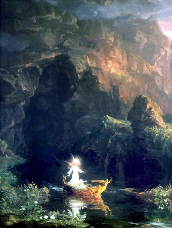 Thomas Cole – The Voyage of Life server... Birth, 1 of 4 paintings. They are spectacular, my favorite paintings of all time.