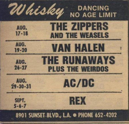Concert schedule at the Whisky a Go Go in 1977 featuring Van Halen, The Runaways and AC/DC