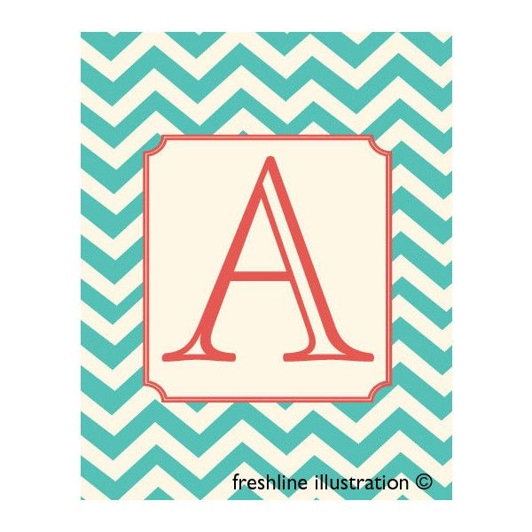 Monogram Letter Art Turquoise And Coral 8x10 Art Print