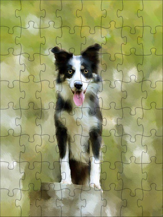 Border Collie Dog Art Portrait Print Puzzle with Photo Tin