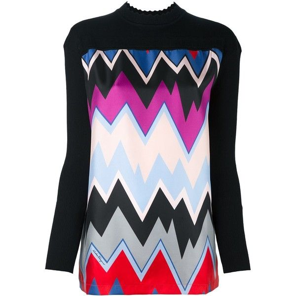 Salvatore Ferragamo chevron print blouse ($720) ❤ liked on Polyvore featuring tops, blouses, black, chevron tops, chevron pattern blouse, pattern blouses, multi color tops and salvatore ferragamo